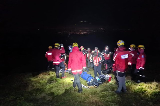 The rescue operation on Gathering Hill. Photo: Glossop Mountain Rescue Team