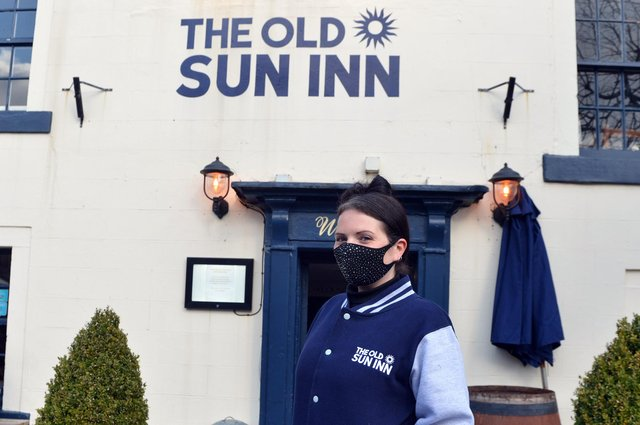 Buxton shops reopens from lockdown on April 12th. Manager at the Sun Inn Danielle Marshall.