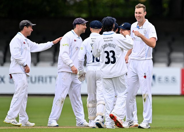 Billy Stanlake celebrates taking the wicket of Alastair Cook.  (Photo by Justin Setterfield/Getty Images)