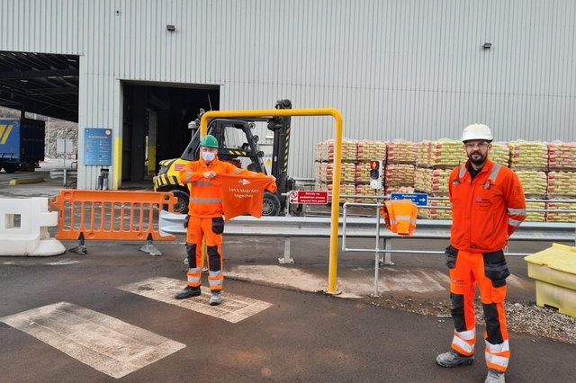 Daniel Heyworth, left, with Tarmac's Tunstead cement packing plant manager,  Ian Smith.