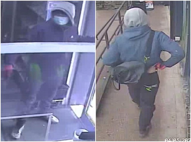 Police have released these CCTV images of a man they would like to speak in connection with a robbery at a New Mills shop