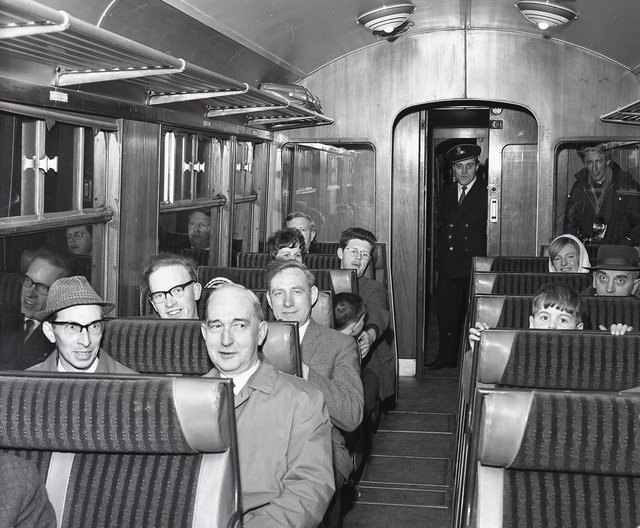 Passengers and guard Sabino Bellicoso on the last ever train from Buxton's Midland station. The return journey from Millers Dale was the last train to leave that station and the last to arrive at Buxton Midland in 1967