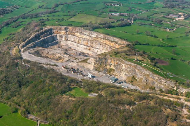 An aerial view of Crich Quarry. (Picture: Richard Bird Photography)