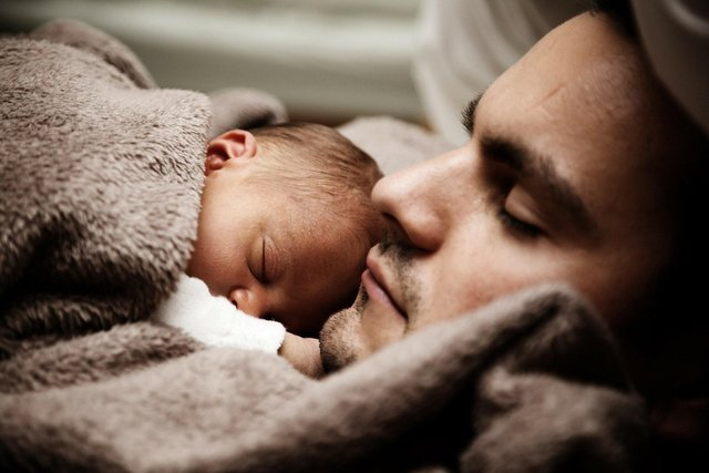 Father with a new baby in lockdown.