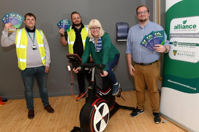 From left, Joel Rawlin of Alliance Environmental Services, Glossop leisure centre manager Rob Smith, Councillor Jean Todd, and Councillor Damien Greenhalgh.