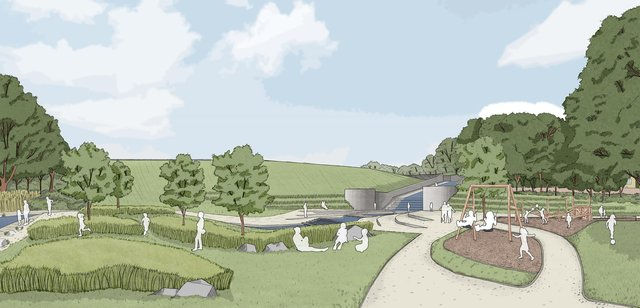 Artist impression of the reservoir and dam from the Memorial Park