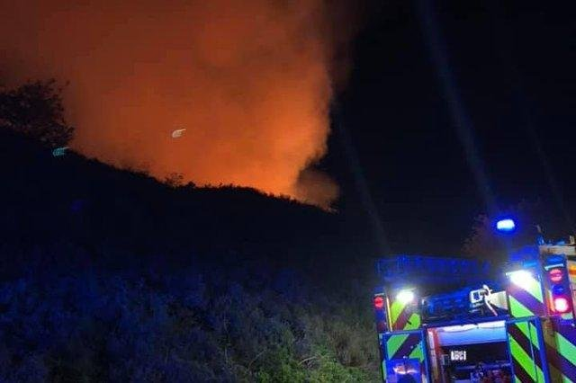 A fire at The Dale in Hathersage (pic: Hathersage fire station).