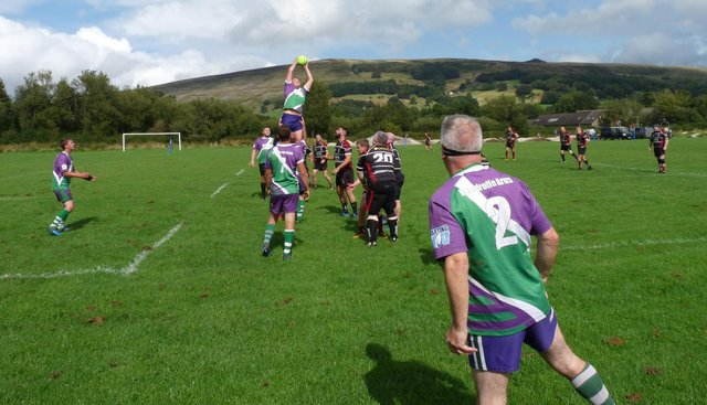Hope Valley RFC in action. It is hoped this scene will once again be seen before too long.