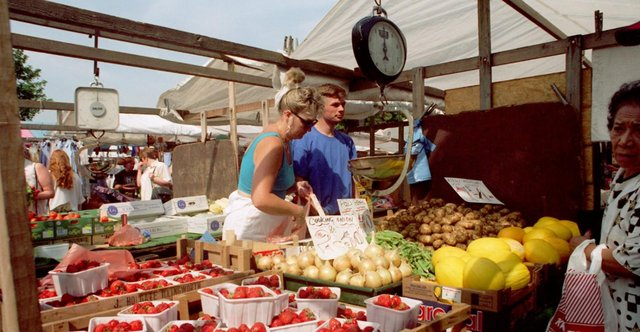 The fruit and vegetables on sale at Bakewell Market in 1996