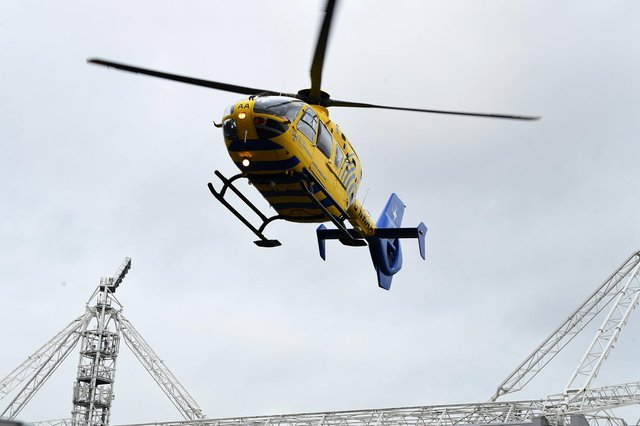 A man was airlifted to hospital after getting stuck under a tractor in Buxton. Photo: Neil Cross.