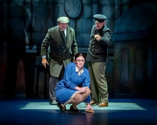 Roy Carruthers, Lucy Dixon and Mark Moraghan in By The Waters of Liverpool. Photo by Anthony Robling.