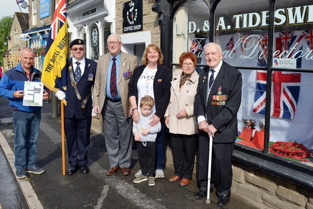 Chapel Legion branch want to turn the town red, white and blue to mark the 100th anniversary of the  Royal British Legion. Pictured Derek Eley BEM. Patrick Lannigan, Alan Tideswell, Ted Fell Chairman, Sally Tideswell secretary, Jason Burgess, poppy seller, Helen Capell committee member.