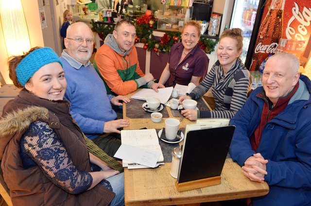 Christmas for the Community volunteer Ruth Eyre is pictured left, along with Martin Murray, Craig Taylor, Carolyn Berrisford, Deborah Byrne and Clive Gerrard