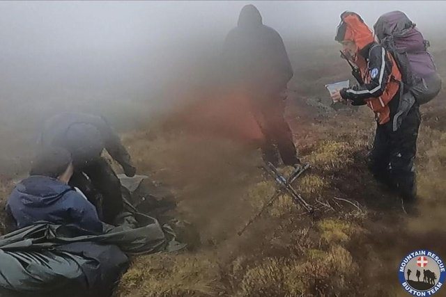 The Mountain Rescue Team traced the walkers using their mobile phones and found them attempting to shelter in a tent.