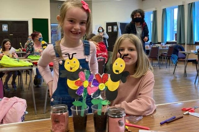 Some of the children at the younger craft session put on by Youth Matters New Mills