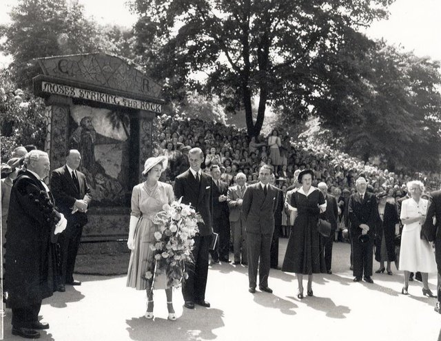Princess Elizabeth and Prince Philip at St Anne's Well, Buxton, 1949.