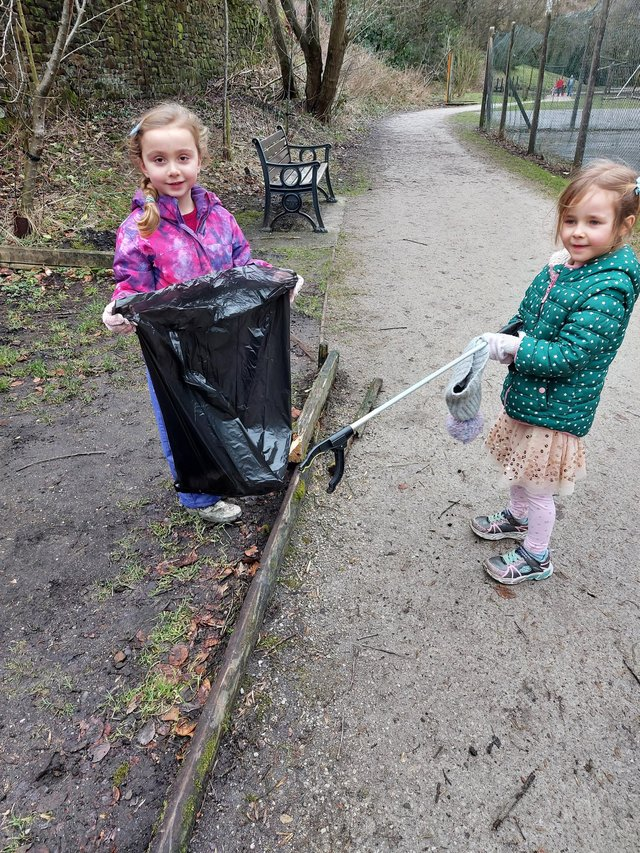 Ruby and her friend Autumn litter picking