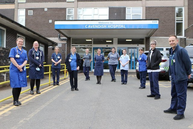 The staff of Fenton Ward and the district nurses based at the Cavendish Hospital get ready to celebrate International Nurses Day