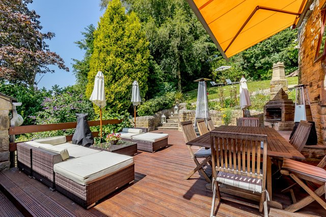 To the rear of the property there is a raised decking platform off the first floor hallway enjoying a south aspect with ample storage underneath, a stone build barbeque and electrically operated awning.