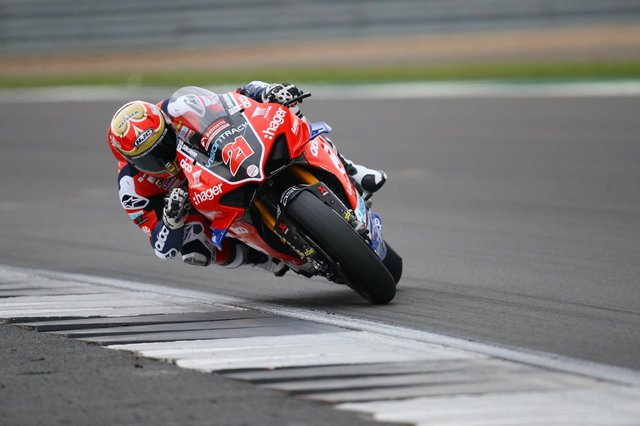 VisionTrack PBM Ducati rider Christian Iddon in action at Silverstone. Photo: @Double Red