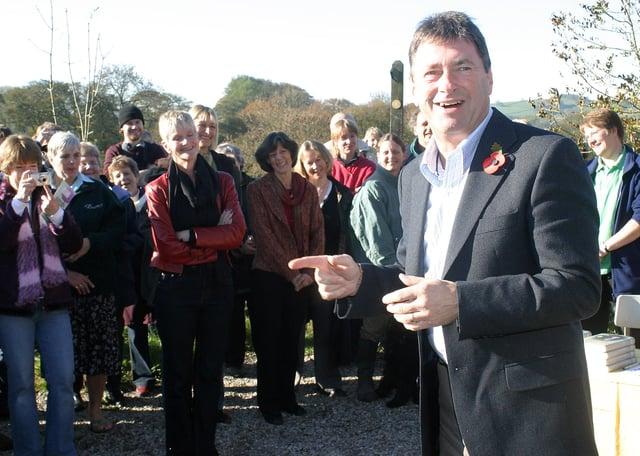Celebrity gardener Alan Titchmarsh opens the new school garden at Great Hucklow Primary