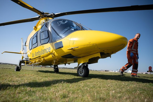 An air ambulance was forced to make an emergency landing in the Peak District yesterday following a bird strike. Photo by Leon Neal/Getty Images.