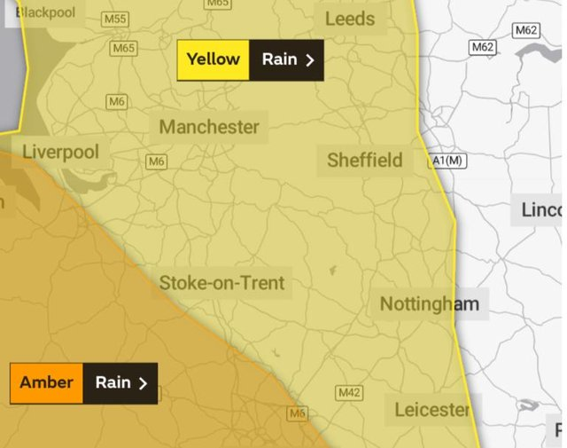 Yellow rain warning for our region
