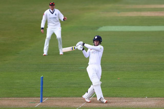 Luis Reece of Derbyshire pulls a delivery off the bowling of Tim Bresnan during day one of the Group One LV Insurance County Championship match between Warwickshire and Derbyshire at Edgbaston on Thursday.  (Photo by Michael Steele/Getty Images)