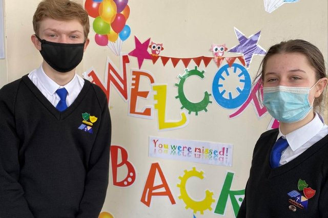 St Thomas More pupils celebrating the return back to the classroom after eight weeks of online learning