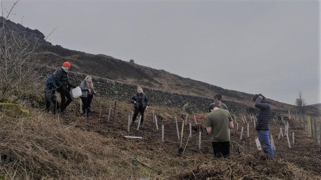 Students from Buxton and Leek College have planted trees at two sites
