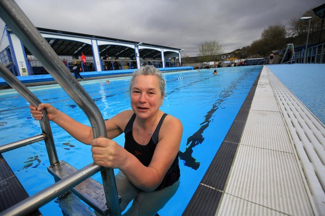 Hathersage outdoor pool reopened today after months of lockdown. Pictured is Deborah Wright. Picture: Chris Etchells