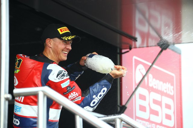 Christian Iddon celebrates his win at Oulton Park on Saturday. Photo: J Wright/Double Red.