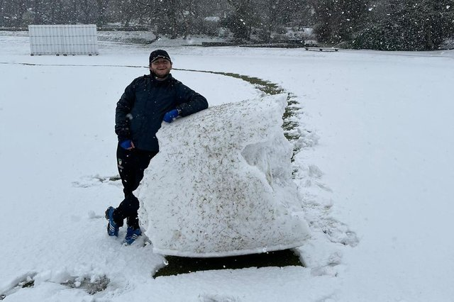 .Cricket and snow are a rare and bad combination. Both of Buxton's scheduled friendlies were cancelled due to the white stuff last weekend. Photo: Buxton CC.