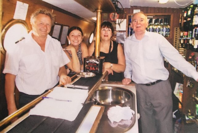 Suzy Kelsall, second left, onboard the Judith Mary II in 2013 - with Pete Croucher, left, Joy Goodwin, and Allen Kelsall, right