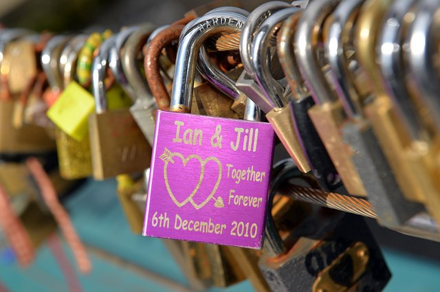 Some of the love locks left over the years on Weir Bridge at Bakewell.