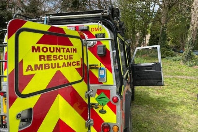 The walker sadly died despite the best efforts of all involved. Photo - Edale Mountain Rescue Team