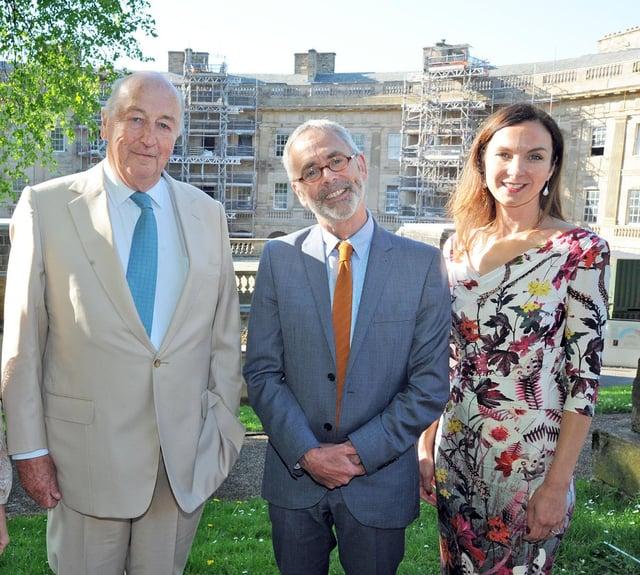 Liz Mackenzie with the Duke of Devonshire and Buxton Crescent Heritage Trust Chairman James Berresford