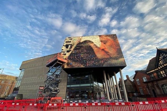 Lovers, the photo mosaic which wraps QUAD in Derby. Photo by Luisa Magdalena and Nahuel Alfonso .