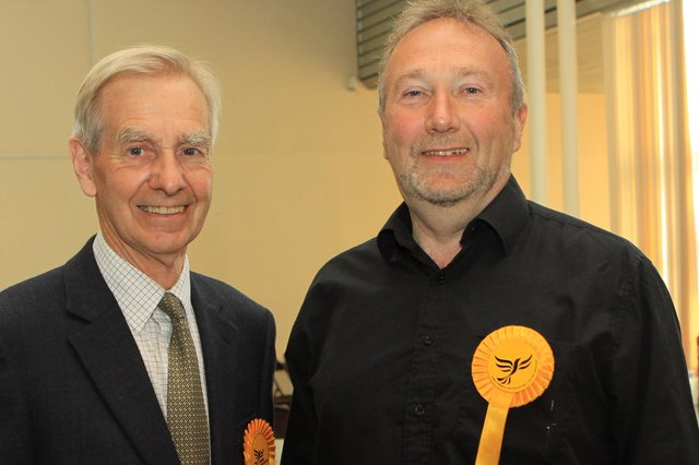 Councillor David Lomax, right, with High Peak Liberal Democrats president Barrie Taylor in 2013