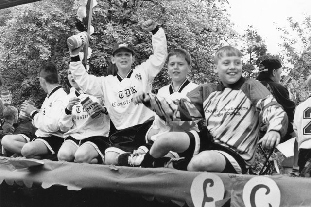 Buxton Advertiser Archive, junior footballers in the 1995 Chapel en le Frith carnival