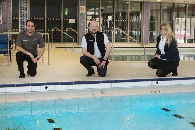 Buxton Swimming and Fitness Centre Manager Leigh White with colleagues Liam McWee and Elise Evans