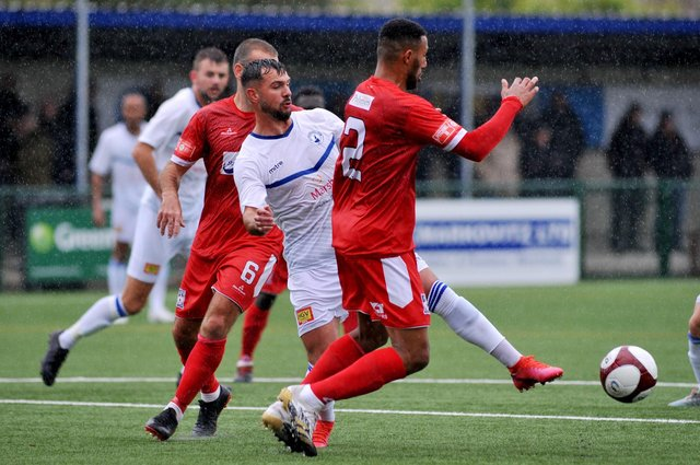 Diego De Girolamo in action for Buxton last season. He's one of several Bucks players that will return when pre-season training starts ahead of the new campaign.