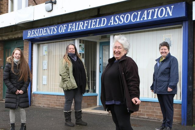 Residents of Fairfield Association, Lia Roos with colleagues Jacqueline Birkett, Lynn Stone and Angela Saldate
