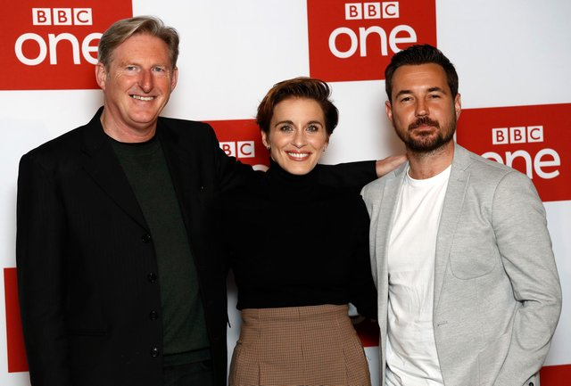 Line of Duty stars Adrian Dunbar, Vicky McClure and Martin Compston. (Photo by John Phillips/Getty Images)