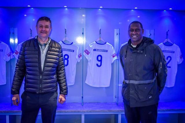 Buxton FC Chairman Dave Hopkins with Emile Heskey.