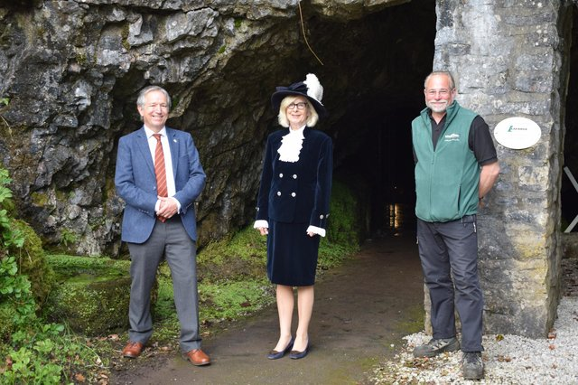 Peter Phillipson (Chair of Board of Directors at Buxton Civic Association), Louise Potter, High Sheriff of Derbyshire, and Alan Walker (General Manager of Poole's Cavern)