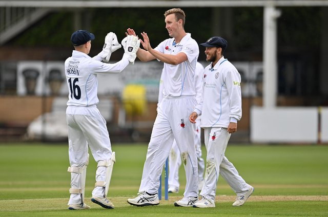 Billy Stanlake of Derbyshire celebrates taking the wicket of Nick Browne of Essex  during the LV= Insurance County Championship match between Essex and Derbyshire at Cloudfm County Ground. (Photo by Justin Setterfield/Getty Images)