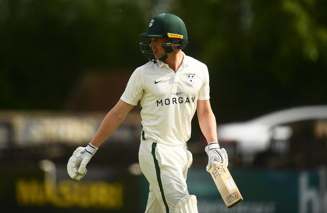 Jack Haynes is dismissed for 97 during Day One of the match between Worcestershire and Derbyshire at New Road. (Photo by Harry Trump/Getty Images)