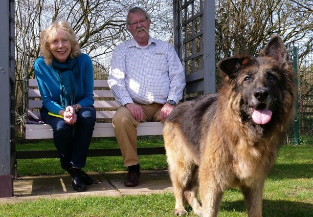 Bella with new owners Maggie Mellish and Charlie Douglas.