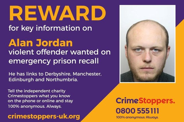 Violent offender Alan Jordan is wanted for emergency recall to prison and has links to Derbyshire.